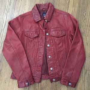 GAP | Red Leather Moto Biker Jacket Lined XS 90s